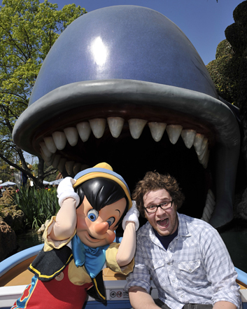 Seth Rogen pictured with Pinocchio